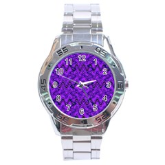 Purple Wavey Squiggles Stainless Steel Analogue Watch