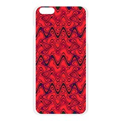 Red Wavey Squiggles Apple Seamless iPhone 6 Plus/6S Plus Case (Transparent)
