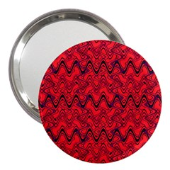Red Wavey Squiggles 3  Handbag Mirrors