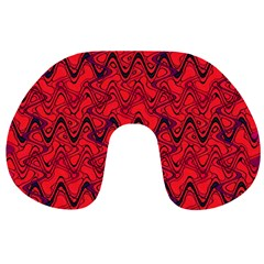 Red Wavey Squiggles Travel Neck Pillows