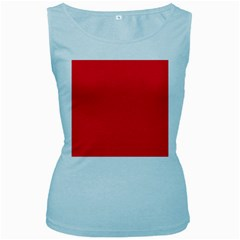 Torch Red Colour Women s Baby Blue Tank Top