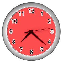 Sunset Orange Colour Wall Clocks (Silver)
