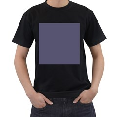 Smoky Blue Colour Men s T-Shirt (Black) (Two Sided)