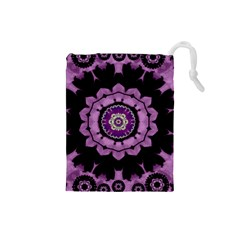 Decorative Leaf On Paper Mandala Drawstring Pouches (small)