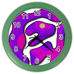 Purple graffiti Color Wall Clocks