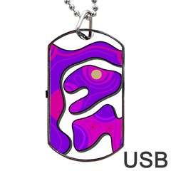 Purple graffiti Dog Tag USB Flash (Two Sides)