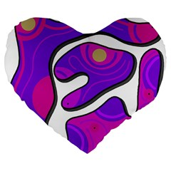 Purple graffiti Large 19  Premium Heart Shape Cushions