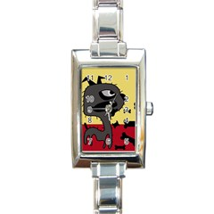 Angry little dog Rectangle Italian Charm Watch