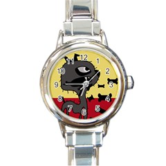 Angry little dog Round Italian Charm Watch