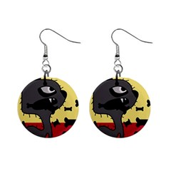Angry little dog Mini Button Earrings