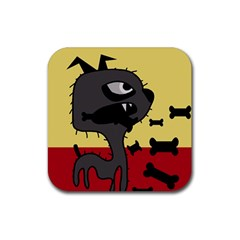 Angry little dog Rubber Coaster (Square)