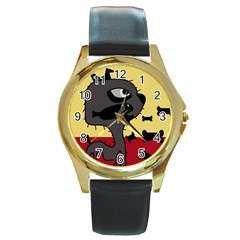 Angry little dog Round Gold Metal Watch