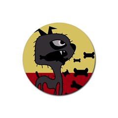 Angry little dog Rubber Coaster (Round)