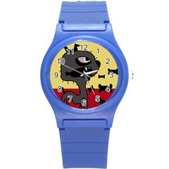 Angry little dog Round Plastic Sport Watch (S)