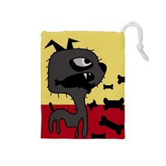 Angry little dog Drawstring Pouches (Medium)