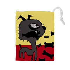Angry little dog Drawstring Pouches (Large)