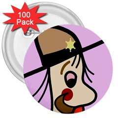 Police 3  Buttons (100 pack)