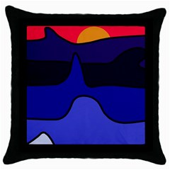 Waves Throw Pillow Case (Black)