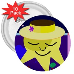 Mr. Sun 3  Buttons (10 pack)