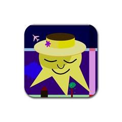 Mr. Sun Rubber Square Coaster (4 pack)