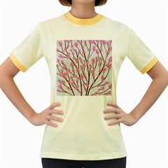 Cherry tree Women s Fitted Ringer T-Shirts