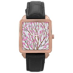 Cherry tree Rose Gold Leather Watch