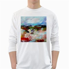 red abstract landscape White Long Sleeve T-Shirts