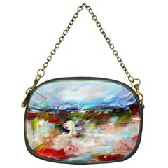 Red Abstract Landscape Chain Purses (one Side)