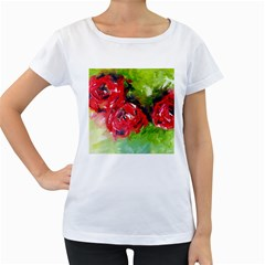 Floral  Red On Green Women s Loose-Fit T-Shirt (White)