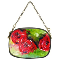 Floral  Red On Green Chain Purses (one Side)