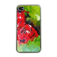 Floral  Red On Green Apple Iphone 4 Case (clear)