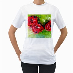Floral  Red On Green Women s T-Shirt (White)