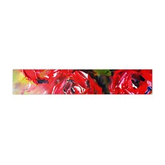 Floral  Red On Green Flano Scarf (Mini)