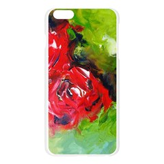 Floral  Red On Green Apple Seamless iPhone 6 Plus/6S Plus Case (Transparent)