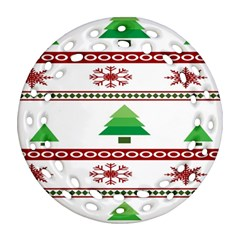 Christmas Trees And Snowflakes Ornament (Round Filigree)