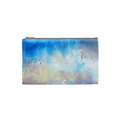 Abstract Blue And White Art Print Cosmetic Bag (small)