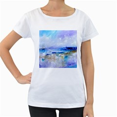 abstract purple art prints Women s Loose-Fit T-Shirt (White)