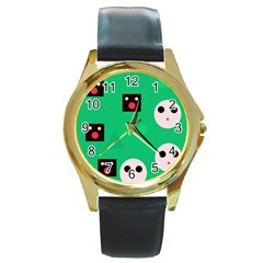 Audience  Round Gold Metal Watch