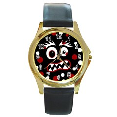 Madness  Round Gold Metal Watch