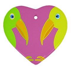 Parrots Heart Ornament (2 Sides)