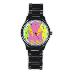 Parrots Stainless Steel Round Watch