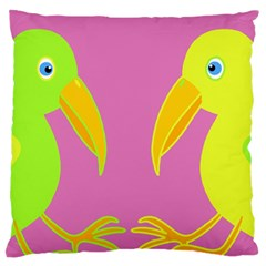 Parrots Large Flano Cushion Case (Two Sides)