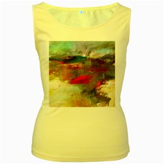 abstract reds and beiges  Women s Yellow Tank Top
