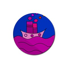 Boat Rubber Round Coaster (4 pack)
