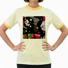 Optimistic decor Women s Fitted Ringer T-Shirts