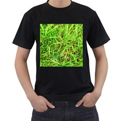 Natures grass and shamrock print  Men s T-Shirt (Black) (Two Sided)