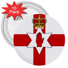Ulster Banner 3  Buttons (10 Pack)
