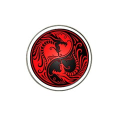 Yin Yang Dragons Red And Black Golf Ball Marker 4 Pack (for Hat Clip)