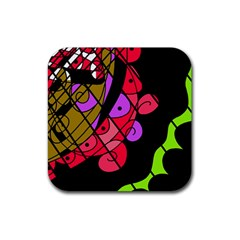 Elegant abstract decor Rubber Square Coaster (4 pack)