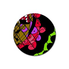 Elegant abstract decor Rubber Round Coaster (4 pack)